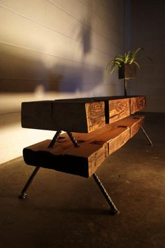 Table Wood Furniture Original From reclaimed materials #LiquidGoldSalvagedWood