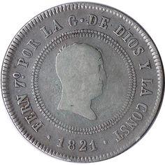 10 Reales 1821 Fernando VII Bilbao. Plata.