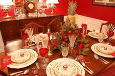 Christmas Tablescape Table Setting with Lenox, Holiday and A Colonial Williamsburg Apple Tree Centerpiece:
