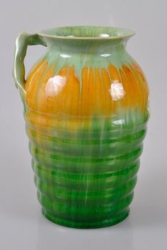REMUED Pottery Large Early Yellow & Green Ribbed VASE w. Branch Handle Shape