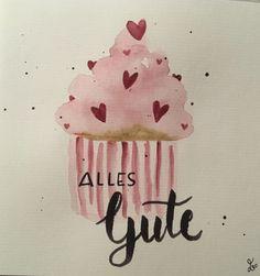 Bday Cards, Happy Birthday Cards, Birthday Wishes, Watercolor Birthday Cards, Watercolor Cards, Handlettering Happy Birthday, Karten Diy, Happy Paintings, Happy B Day