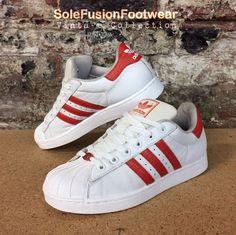 huge selection of 6b9de dbce0 adidas Superstar Mens Trainers WhiteRed sz 8.5 VTG Weave Sneaker US 9 EU  42 23  eBay