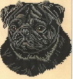 Brenda Franklin DP 304 Pug Black. 79 x 83 stitches. Cross Stitch, Petit Point, Needlepoint, Waste Canvas, & Rug Hooking Pattern.