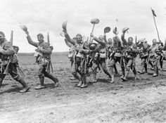 The 4th Battalion of the Worcestershire Regiment (29th Division) marching to the trenches near Acheux, 28th June 1916