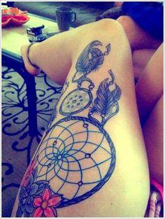 Cultural Dreamcatcher Tattoos Ideas in Modern Culture: Dreamcatcher Tattoo Designs Full On Thigh ~ Tattoo Ideas Inspiration Dream Tattoos, Love Tattoos, Sexy Tattoos, Beautiful Tattoos, Tribal Tattoos, Tatoos, Female Tattoos, Beautiful Artwork, Beautiful Dream