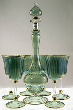 Egyptian hand-made Glass Wine Set (6 glasses/decanter)