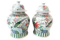 Famille Rose Ginger Jars w/Peacocks, S/2