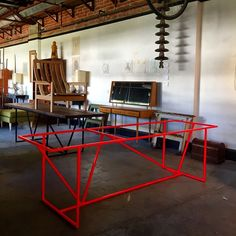 Check out our latest table frame!! It's neon orange. It is a full fluro orange. Killer colour. #design #table #industrial #interiordecor #interiordesign #industrialfurniture #architecture #melbourne #melbournestyle #melbournecity #spotswood #supportlocal