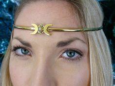 Crescent Moon Circlet. Brass with moonstone. by SpiritoftheGoddess, $69.00