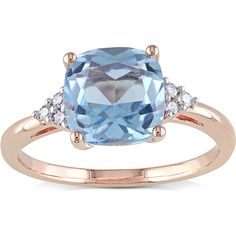 Miadora 10k Rose Gold Sky Blue Topaz and Diamond Accent Cocktail Ring ($163) ❤ liked on Polyvore featuring jewelry, rings, blue, accessories, long rings, blue topaz jewelry, pink rose gold ring, rose gold band ring and rose ring
