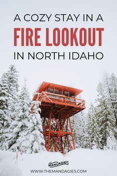 Ready to elevate your winter experience? Stay in a magical fire tower in North Idaho - all inclusive with sauna, a cozy bed, snowshoeing trails, and so much more! Winter Hiking, Winter Travel, Canada Travel, Travel Usa, Lookout Tower, United States Travel, Vacation Spots, Vacation Ideas, Idaho
