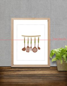 Tableware Art Prints Set Kitchen Living Room by BannerDesignShop, $12.49