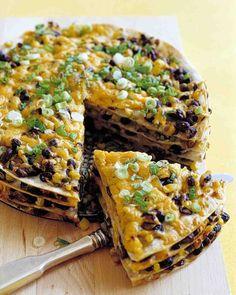Tortilla and Black Bean Pie!  Delish!