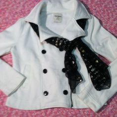 Cozy warm Jacket This is off white large flap collar with faux buttons and zip up at an angle. Super cute and warm , poly/cotton blend material. Smoke free stain free.  You will love this jacket with some big fluffy boots!! Old Navy Jackets & Coats