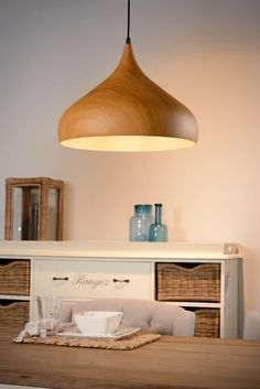 Lucide WOODY - Hanglamp - Ø 42 cm - Licht hout