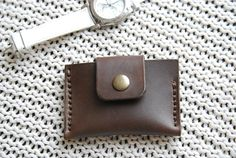 Handmade  dark brown  leather card/business card holder.