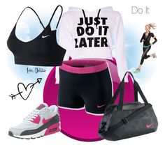 """""""Do It"""" by debbie-michailides ❤ liked on Polyvore featuring NIKE, women's clothing, women, female, woman, misses and juniors"""