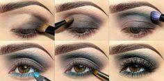 Maquillaje: sombra de ojos marrón y turquesa.