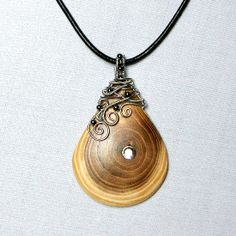 OOAK wire wrapped wood pendant