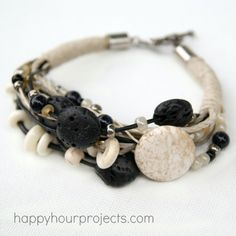 Stone, Bone and Lava Bead Layered Bracelet  Nice and simple tutorial for a messy bracelet. I like this one.