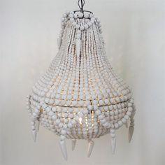 White beaded chandelier!