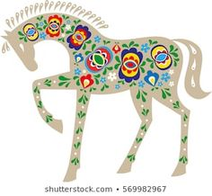 Popular Folk Embroidery Horse with Moravian folk ornaments - Floral Embroidery Patterns, Folk Embroidery, Quilt Patterns, Truck Art, Horse Sculpture, Antique Quilts, Pattern Drawing, Horse Art, Stock Foto