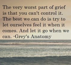 The very worst part of grief is that you can't control it. The best we can do is try to let ourselves feel it when it comes. And let it go when we can. -Grey's Anatomy
