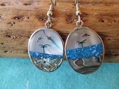 Alpaca Silver Inlay Beach Scene Earrings on Etsy, $15.00