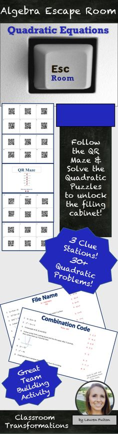 Quadratic Equations Activity! Algebra Escape Room!! Students must save a local Super-Mart from a Mad Math Professor, by solving the quadratic puzzles he left behind & unlocking the filing cabinet!!