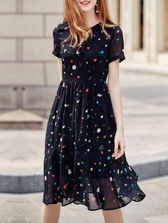 #AdoreWe #StyleWe Midi Dresses❤️Designer KAN·F Black Printed A-line Midi Dress - AdoreWe.com