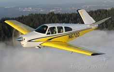 Beechcraft 35 Bonanza (N672D) (Repinner's comments: I know this is a board about Banana Ragtops, but I couldn't resist pinning this Banana Bonanza! Awesome airplane!