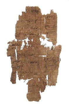 An Egyptian papyrus fragment with Hieratic script, c, Century BC - Century AD, with several partial lines of text visible on one side and one or two on the other. H: 5 in W: 2 in Mounted between glass panes and wrapped. Ex Maryland private collection. Communication Letter, Alphabet, Maryland, Egyptian, Script, Auction, Letters, Glass, Collection