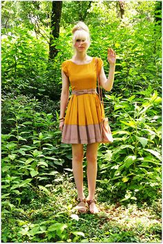 dear creature dress. color block with mustard yellow? yes please!!