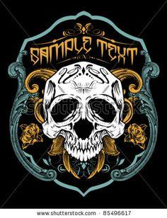 Vector Illustration : Skull T-Shirt Design Logos - 85496617 : Shutterstock