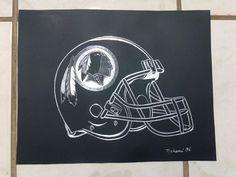 "FINE ALUMINUM SCRATCHED ART ""WASHINGTON REDSKINS"" NFL/AFC PAINTING ART DECO #ArtDeco"