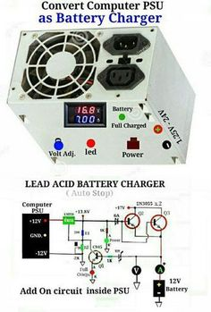 PC power supply make over to battery charger. Electronic Circuit Design, Electronic Engineering, Electrical Engineering, Electrical Wiring, Electronics Components, Electronics Projects, Battery Charger Circuit, Power Supply Circuit, Electronic Schematics