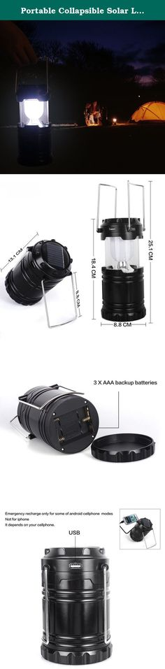 Portable Collapsible Solar Lanterns Rechargeable LED Lantern Camp Lights Table Lamp for Outdoor, Fishing, Blackout, Emergency Charging for Android Cellphone Iphone (Black). Specifications: Rechargeable LED lantern with a 800 mAh rechargeable built-in battery and solar lanterns charing function can save your emergency hassle if you could not find batteries.solar charge at any time,ALWAYS LIGHT ON. Camp lights Use outdoors or inside. Ideal for camping, hiking, fishing, Emergency outages and...