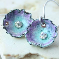 Cup/Flower Copper Kiln Fired Enamel Earrings by tekaandzoe on Etsy, $38.00