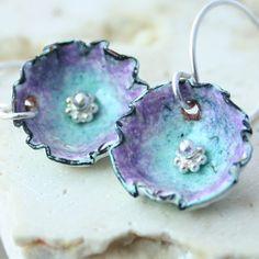 Cup/Flower Copper Kiln Fired Enamel Earrings by tekaandzoe on Etsy, $38.00