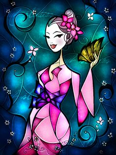 Cinderella Stained Glass | Pingback: 3 Free Stained Glass Alice In Wonderland Facebook Cover ...