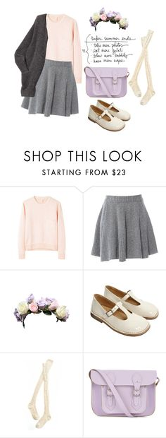 """""""Lavender Laziness"""" by loverlydresses ❤ liked on Polyvore featuring American Retro, Madewell, The Cambridge Satchel Company, skater skirts, flower hair accessories, t-strap shoes, cable knit socks, cardigans, sweaters and leather messengers"""