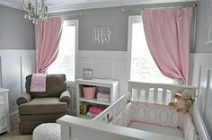 Love the grey and white walls with the pink accents