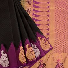Electronic Jacquard Kanjivaram Pure Silk Saree With Peacock Motifs Temple Border 10020700 - AVISHYA.COM