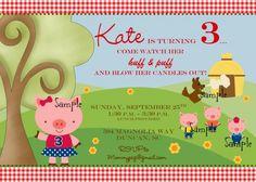Girl Style Three Little Pigs Personalized Birthday Party Invitation Pig Birthday, 4th Birthday Parties, Birthday Party Decorations, Birthday Party Invitations, Birthday Ideas, Print Your Own Invitations, Pig Party, Three Little Pigs, Tent Cards