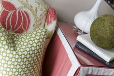 Alisha Gwen | interior designer.  Color choices, pattern mix, skirted table.