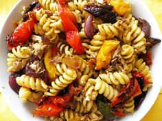 Mediterranean Tuna and Roast Pepper Fusilli recipe. Full of caramelized roasted vegetables and creamy feta cheese creating a healthy, filling main dish.