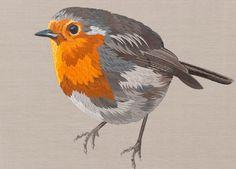 British Robin, Oil painting by Sam Charles | Artfinder