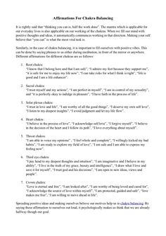 affirmations-for-chakra-balancing by SilvaMindControl via Slideshare