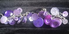 Purple Lavender Lilac Button Bracelet - New and Vintage Buttons, $25