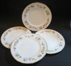 4 Wedgwood MIRABELLE Salad Plates England China Pink Flowers Wedgewood #Wedgwood